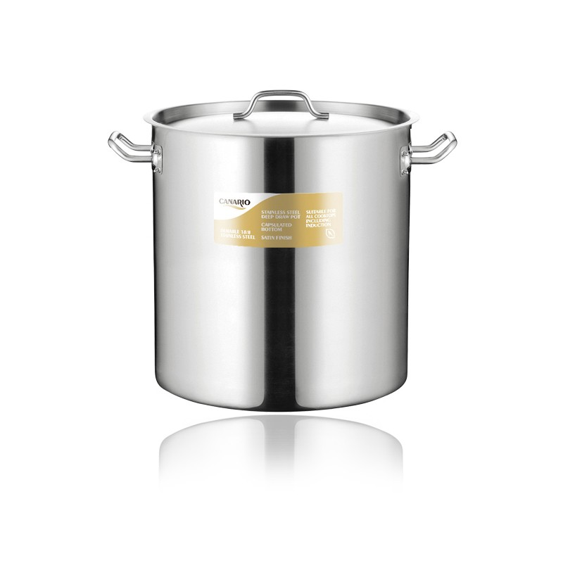 DEEP DRAWING STAINLESS STEEL STOCK POT WITH SANDWICH BOTTOM & LID(03 STYLE)
