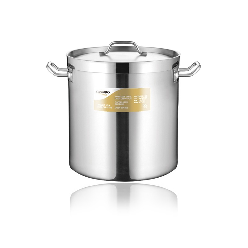 DEEP DRAWING STAINLESS STEEL STOCK POT WITH SANDWICH BOTTOM & LID(04 STYLE)